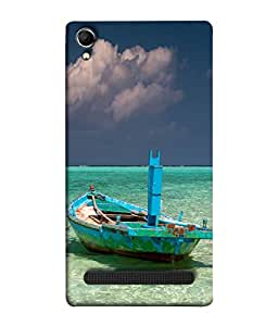 PrintVisa Designer Back Case Cover for Intex Aqua Power Plus (watery boat cloudy sky view)