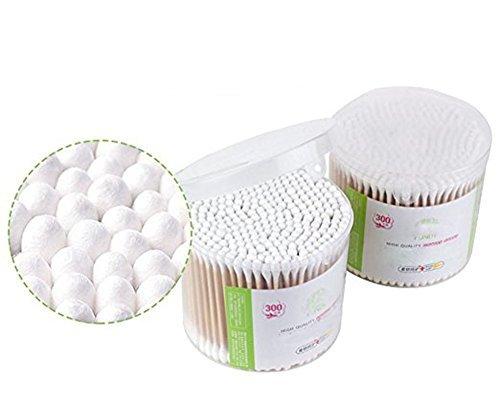 300 pcs Multi Care Clean Maquillage Double Tête Tampons de coton Coton Tige avec poignées en bois Accessoires de beauté