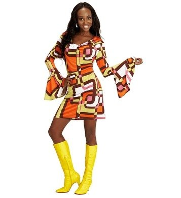 Kostüme Tube Kleid (Widmann Kleid Groovy Siebziger Jahre 70er 80er Trompetenärmel Minikleid Hippie Schlager (M,)