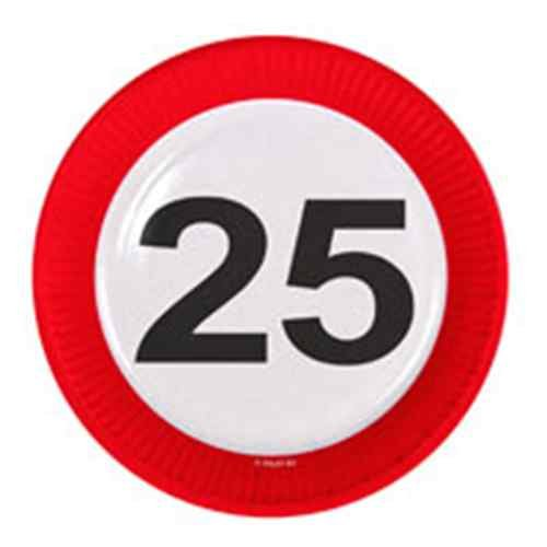 Folat Traffic, Party Geburtstag Teller 23cm (8Stück)–25. Geburtstag