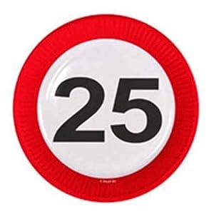 Folat Partyteller Verkehrsschild Zahl 25 Geburtstag Teller 8 St. Pappteller Party