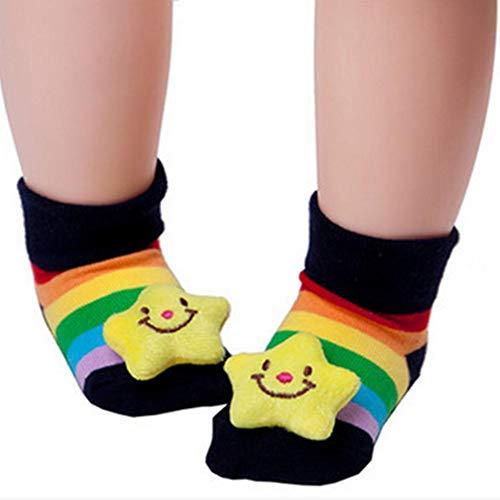 1 par del recién nacido bebés de los muchachos antideslizante calcetines Botas con la muñeca de suelo antideslizantes calcetines del deslizador de los zapatos para niños de 6-18 meses