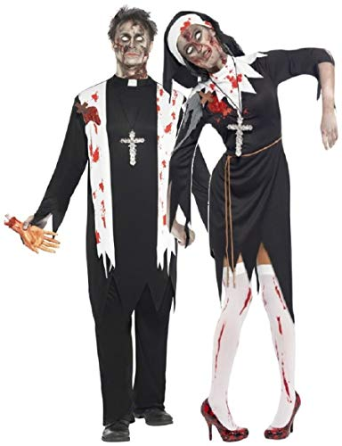 Couples Zombie Nun and Priest Costumes for Him and Her
