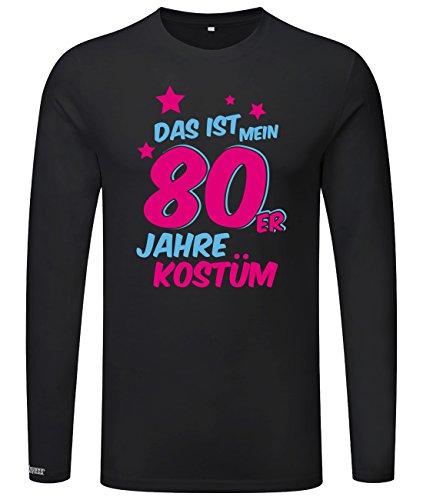 HRE KOSTÜM - HERREN - LONGSLEEVE in Schwarz by Jayess Gr. L (80er Jahre Motto Kostüme Männer)