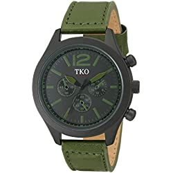 TKO Men's Matte Black Case Rugged Aviator Watch Green Leather Military Watch TK650GR