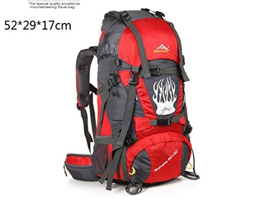 LQABW Outdoor-Nylon Oxford Tuch Wasserdichtes Haltbares Rucksack-Spielraum Klettern Leichter Rucksack Breatherdbebensicher Reduzierte Tasche 55L Red
