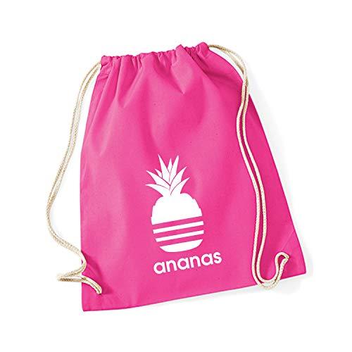 Shirt-Panda Turnbeutel mit Ananas Motiv Hipster Sport Jute Tasche Gym Bag Spruch Baumwolle Fuchsia (Druck weiß) - Rosa Nike Sack Gym