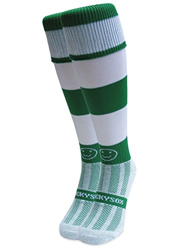 WackySox Classic Hoops Knee Length Rugby Hockey and Football Sports Socks Navy Blue and White Adult Shoe Size 11-14
