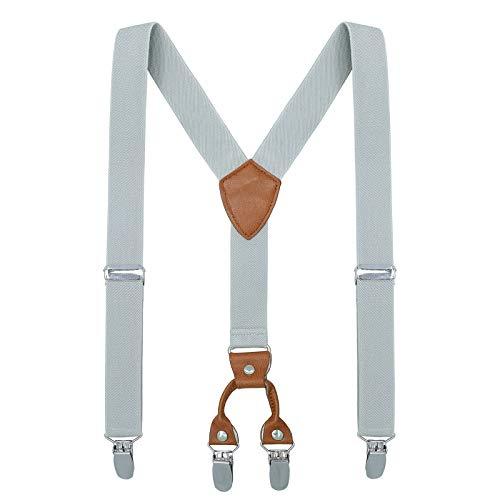 Kinder Klammern Clip auf Hosenträger - Getreide Leder Elastisch Einstellbar Mit 4 Clips Y Form Hosenträger(Grau) Leder Clips