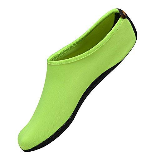 BIG OCEAN Wasser Schuhe für Frauen Männer Erwachsene Kinder Barfuß Laufen Aqua Socken Schnell-Trocken für Schwimmen Surfen Strand Gehen Garten Bootfahren 2.GRÜN