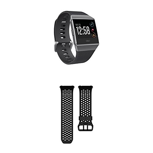 Fitbit Unisex Ionic Smartwatch, Black (Charcoal)/Smoke Grey, One Size with Ionic Sport Band, Black, Large