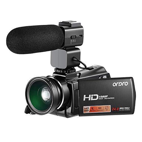 HD Videokamera ORDRO 1080P Digitaler Camcorder Digital Nachtsichtkamera mit Externem Mikrofon und Weitwinkelobjektiv