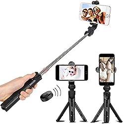 Perche Selfie Bluetooth, Bluetooth Selfie Stick Monopode Extensible avec Télécommande, 360° Rotable Bâton de Selfie,Bâton Selfie Réglable pour iPhoneX/8/7 Plus/6, Galaxy Series et Plupart Android