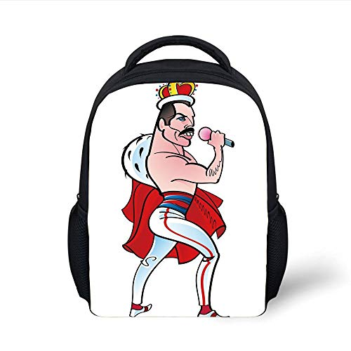 Kids School Backpack Freddie Mercury Decor,Famous Rock Singer Freddie Mercury Band Queen Iconic Figure Cartoon Decorative,Multicolor Plain Bookbag Travel Daypack -