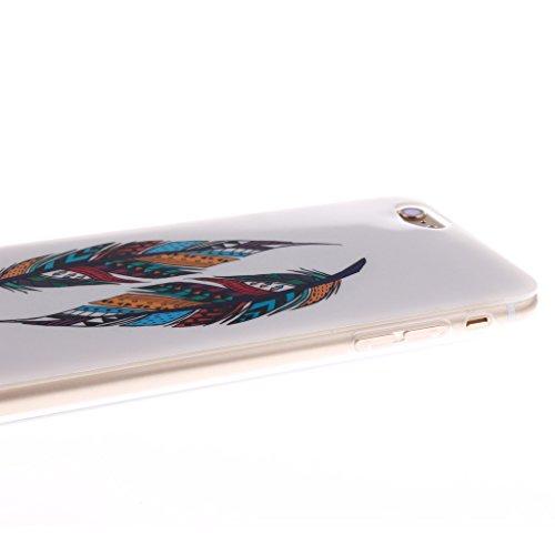"""SsHhUu iPhone 6 Plus Coque, Unique Letter Style Design Ultra Slim Doux TPU Flexible Durable Gel Silicone Protecteur Rear Skin Painting Art Étui Housse Case Cover Pour Apple iPhone 6s Plus 5.5""""; Hipster Colorful Tribal Feather"""