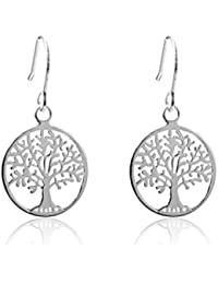 925 Sterling Silber Ohrhänger, Baum des Lebens, 15 mm Durchmesser, 30 mm lang