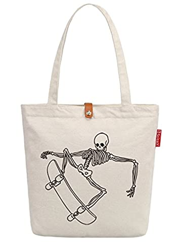 So'each Women's Skate Skull Graphic Top Handle Canvas Tote Shoulder