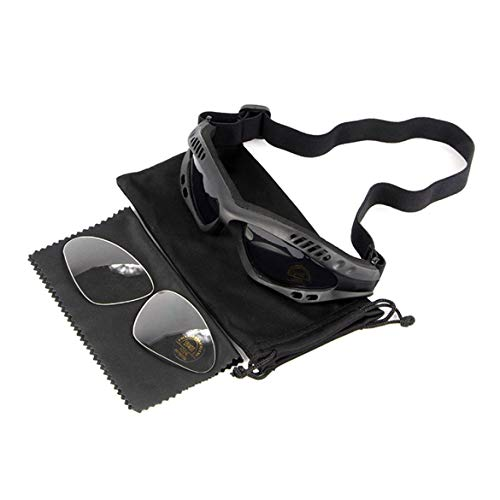 JohnJohnsen Motorrad-Jagd-Wüste Militär Sonnenbrille windundurchlässiges Tactical Desert Storm Goggles Außen Motorrad-Sonnenbrille (schwarz)