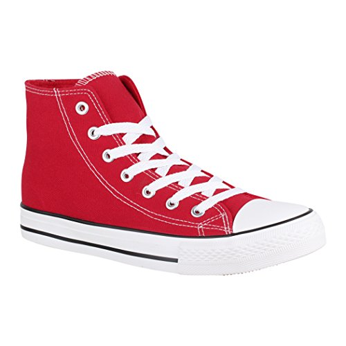 Elara - Chaussures De Sport Unisexe Pour Les Hommes Et Les Femmes, Le Textile, 36-47, Rouge, Taille 36