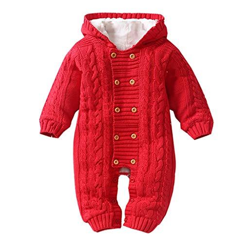 Livoral Neugeborenes Kleinkind Baby Jungen Mädchen mit Kapuze Strampler Overall verdickt Strick Outfit(Rot,12-18 Monate)