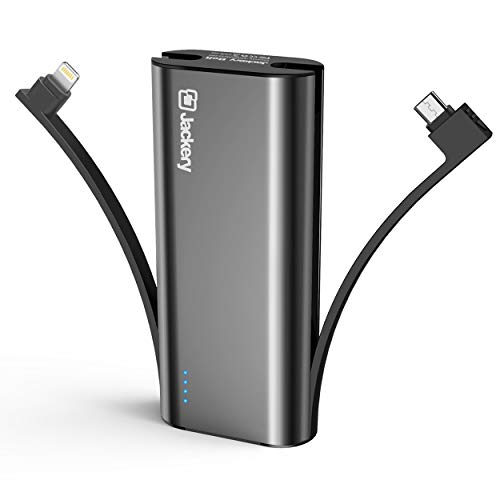 Jackery Bolt 6,000 mAh Ultra-Compact External Battery Charge with Built-in-Lightning and Micro USB Cables (Black)