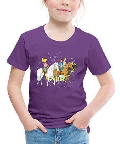 Spreadshirt Bibi Und Tina Ausritt Mit Alexander Falkenstein Kinder Premium T-Shirt, 122/128 (6 Jahre), Lila (Für Mädchen Einheitliche T-shirt)