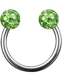 Taffstyle® Piercings - Lippenpiercing Lippe Schmuck Piercing Hufeisen Multi Ferido Doppel mit Kristall Kugeln