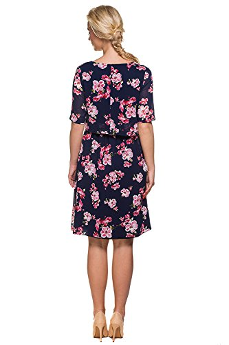 My Tummy Mutterschafts Kleid Stillkleid Aurora Blumen rosa Navy - 4