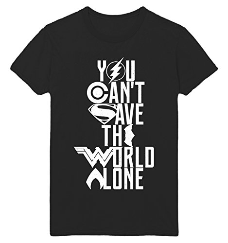 THOMAS-VINTAGE-COOL Cant Save The World Alone Justice League Logo New Movie Unisex T-Shirt - Multiple Colours (S-XXL)