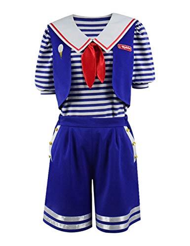 Qian Qian Stranger Steve Robin Halloween Kostüm Blue Sailor Anzug für Herren und Damen (M, - Sailor Kostüm Männer