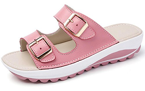 Doppel-Schnalle Sandalen schlüpfen flache Sandalen weibliche Pantoffel Strand Pink