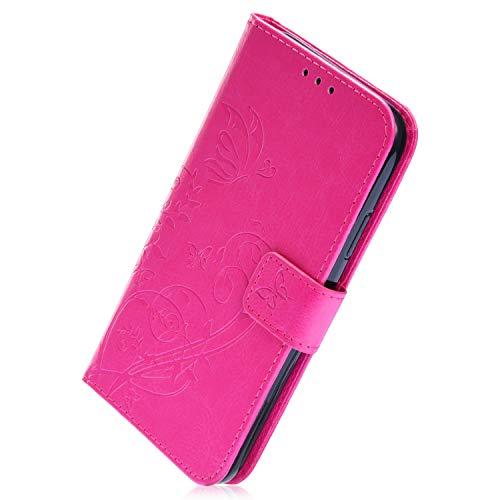 Herbests Kompatibel mit Samsung Galaxy J6 2018 Handy Schutzhülle Schmetterling Blumen Lederhülle Leder Handyhülle Brieftasche Tasche Bookstyle Leder Handytasche Flip Case Cover,Rose Rot