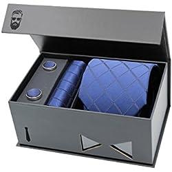 Schlipster Krawatten-Set - Premium Box mit Krawatte, Einstecktuch und Manschettenknöpfen (Blau Kariert)