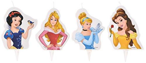 Lot de 4 Bougie 2D Princesse Disney - Gateau Anniversaire Décoration - 181