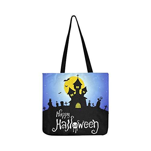 Halloween Card Canvas Tote Handtasche Schultertasche Crossbody Taschen Geldbörsen für Männer und Frauen Einkaufstasche