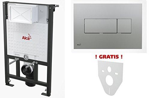 WC Vorwandelement für Trockenbau 85 cm inklusive Betätigungsplatte Chrom Matt Typ Quadro Mini Unterputzspülkasten Spülkasten Wand WC hängend Schallschutz