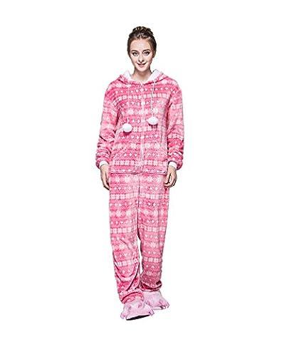 MissFox Männer Frauen Unisex Kigurumi Kostüm Anime Tier Cosplay Hoodie Onesie Erwachsene Pyjamas Karikatur Halloween Nachtwäsche Schnee Flocke (Cosplay Haus Kostüme)