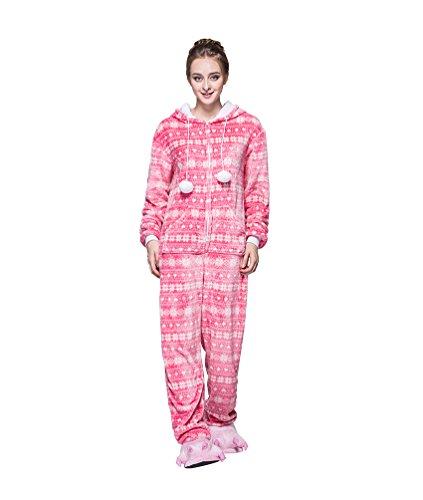 MissFox Männer Frauen Unisex Kigurumi Kostüm Anime Tier Cosplay Hoodie Onesie Erwachsene Pyjamas Karikatur Halloween Nachtwäsche Schnee Flocke M