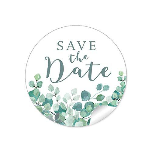 SAVE THE DATE • EUKALYPTUS ZWEIGE GRÜN MINT WEIß • Gastgeschenk Etiketten Hochzeit Tischdeko Flaschen Tüten Briefe Einladungen Geburtstag • 4cm rund matt ()