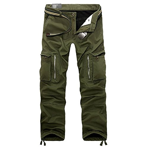 AYG Mens Warm Trousers Polar Fleece Thickened Cargo Camo Pants Combat (army  green,32