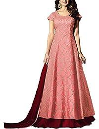 Salwar Soul Women's Silk Semi Stitch Salwar Suit (Salwar_SSER11262_Peach_Free Size)