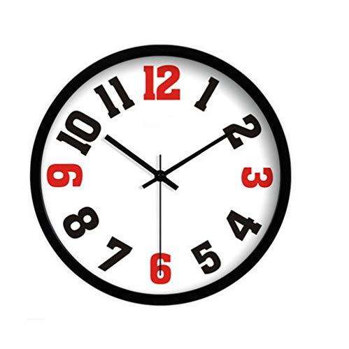 YHEGV Wanduhr Moderne Parlament, einfache und ruhige Aufnahme Retro Wand Metall Stunden Wohnzimmer Küche Restaurant das Schlafzimmer Wanduhr 25 cm/30 cm/35 cm, weiß, 35 cm