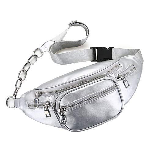 Jnday Herren Damen Gürteltasche Wasserdicht Leder Bauchtasche Mode Freizeit Taillentasche Klein Hüfttasche Outdoor Sport Brusttasche (Silber)