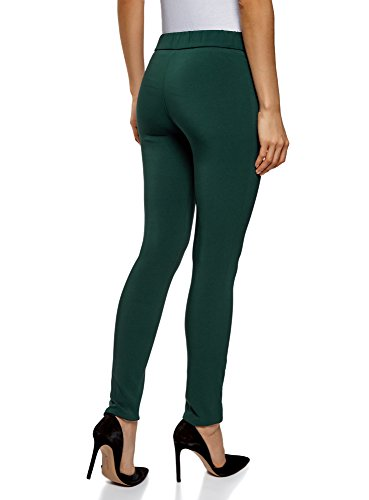 oodji Collection Donna Pantaloni Elasticizzati con Zip Decorative Verde (6C00N)