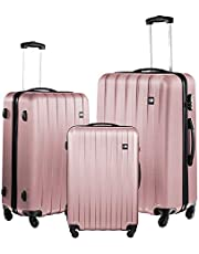 Nasher Miles Zurich Old Rose Pink Abs Hard Luggage Set of 3 Trolley/Travel/Tourist Bags (55, 65 & 75 cm)