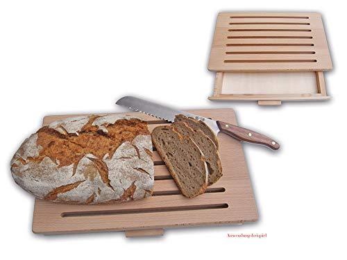 Schulz - Brotschneidebrett mit Schublade für Krümmel- Buche - 40 x 25 x 5 cm