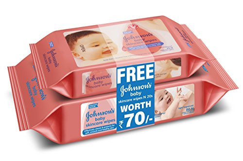 Johnson's Baby Skincare Wipes (80 Sheets) with Free Baby Skincare Wipes (20...