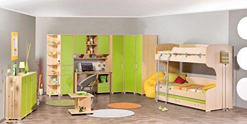2 Schubladen-set Etagenbett (Jugendzimmer Komplett - Set I Benjamin, 13-teilig, Farbe: Esche / Grün)
