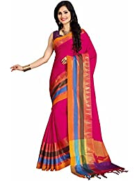 Miraan Women's Cotton Saree With Blouse Piece (Namokeevapink_Pink)
