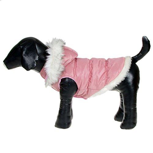 La vogue Hundejacke Haustier Wintermantel mit Kapuze Outdoor (Rosa, M-Bust41-43) - 4